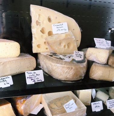 A selection of cheese from the local Fromagerie